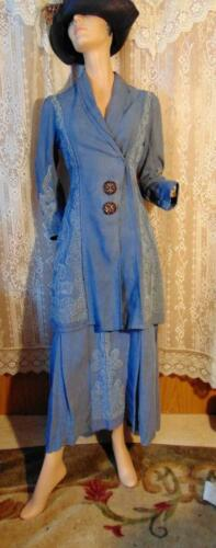 ELABORATE EDWARDIAN 1910S BLUE WALKING SUIT SOUTAC