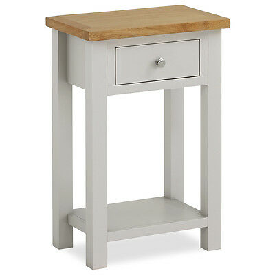 Farrow Painted Hall Table With Oak Top Grey Painted Small