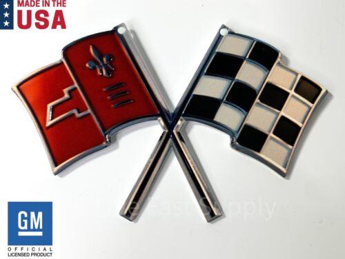 "Chevy Corvette Magnet C3 1968-1982 Crossed Flags Hood Emblem Metal 5/"" x 4/"""
