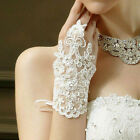8g Short Ivory Luxurious Sequins Lace Fingerless Bridal Wedding Prom Gloves