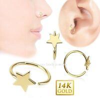 20g 5/16 Star Hoop Real 14 Karat Solid Yellow Gold Ear Tragus Nose Hoop Ring