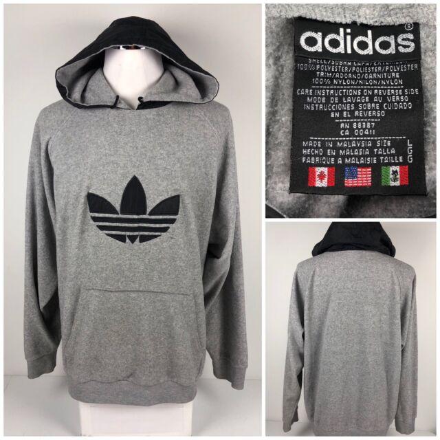 3d34e824 Adidas Vintage Mens Large Hoodie Fleece Trefoil Gray Pullover Rare 90s