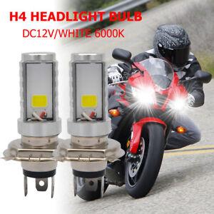 2X-Motorrad-H4-Weiss-Scheinwerfer-3030-LED-Hi-Lo-Beam-Licht-Nebel-Lampe-6500K
