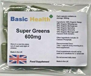 Organic-Greens-x-120-Capsules-600mg-SUPER-GREENS-Wheatgrass-Moringa-Spirulina