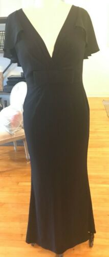 Wayne Clark black bow accent gown Size 10 With Cap