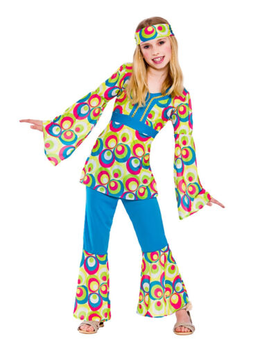 Childrens Hippy Girl Fancy Dress Costume 60/'s 70/'s Hippie Kids Outfit Age 5-13