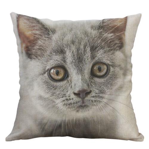"18/"" Cat Pattern Cotton Linen Home Decor Pillow Case Waist Throw Cushion Cover"