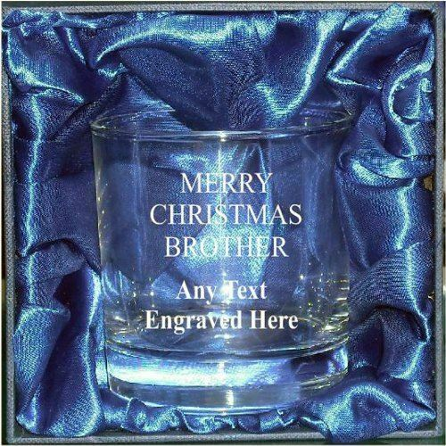 WHISKEY MIXER GLASS ENGRAVED MERRY CHRISTMAS BROTHER WHISKY