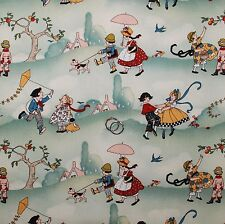 BonEful Fabric FQ Cotton Quilt Decor VTG Children Baby Girl Boy Toile Scenic OOP