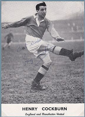 Signed Henry Cockburn 1921-2004 Manchester United Busby Babes Bury England 1940s