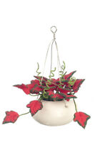 Dollhouse Miniature Plant Hanging - Red Leaves Ceramic Pot Creations 1:12