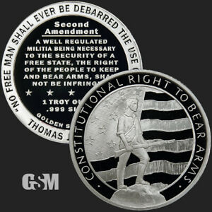 1 oz .999 Fine Silver Round - 2nd Amendment The Right To Bear Arms 2A