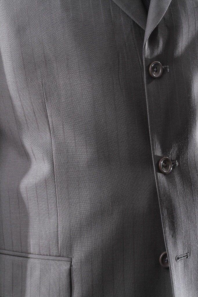 Uomo SUPER 150S 3 BUTTON TAUPE STRIPE STRIPE STRIPE DRESS SUIT 42S, PL-65713-TAU fe06c1
