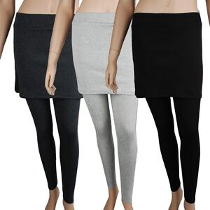 Women-Twinset-Footless-Stretch-Leggings-with-Skirt-TO-006