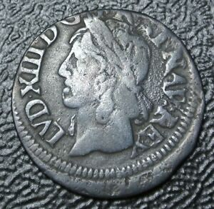 1643-H-FRANCE-DOUBLE-TOURNOIS-Louis-XIII-Used-in-Early-Canada-Off-Struck
