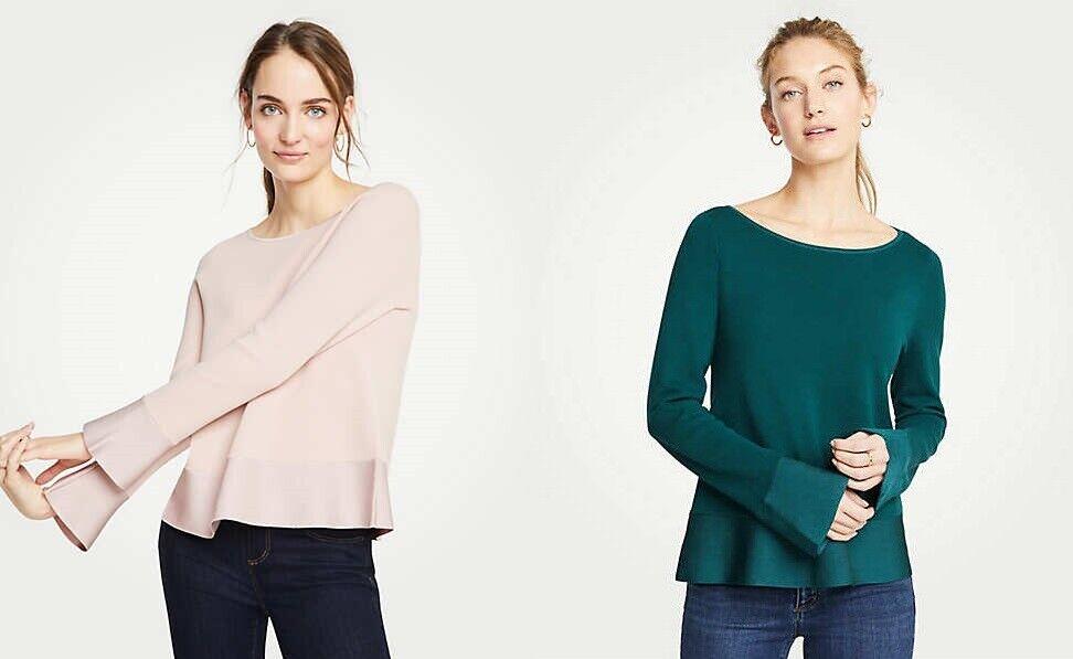 NWT Ann Taylor Boatneck Flare Sleeve Milano Sweater XS SP Light Rosa Grün v