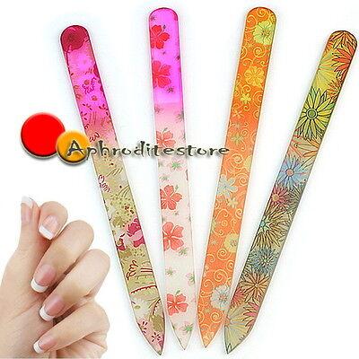 4pcs Pro Flower Glass Nail Art Files Crystal Buffer Manicure Tool Kit Durable