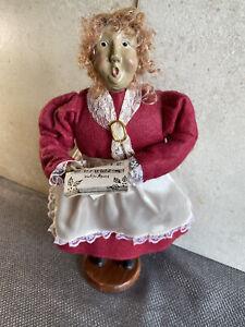 Decorative Clothed Doll Caroler Singing Woman Wood Base Vintage Christmas Figure