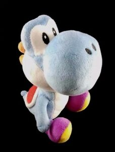 SUPER-MARIO-BROS-YOSHI-Plush-6-Blue-Stuffed-Toy-Genuine-Sanei-by-Little-Buddy