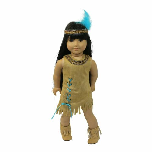 "Dress Native American Indian Headband Boots Arianna Fits 18/"" American Girl Dolls"