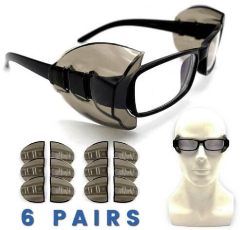 MEDIUM /& LARGE 6 Pair Safety Eye Glasses Side Shields DARK Flexible Slip On