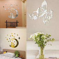 50PCS Acrylic Art 3D Mirror Wall Stickers Moon Stars Butterfly Decals Home Decor