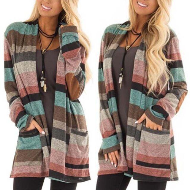 Womens Long Sleeve Casual Cardigan Pocket Striped Sweater Knitwear Coat Tops