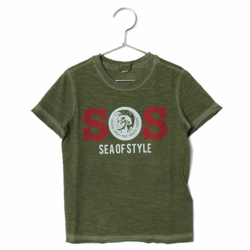 "Diesel Junior Boy S/s Mineral Wash T-shirt Tee ""sos Sea Of Style"" Green Msrp 45"
