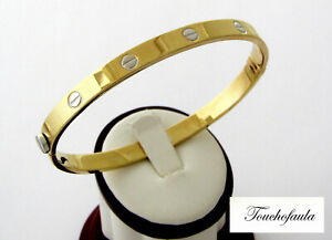 67fdb5284 14K YELLOW GOLD GENTS SCREWS CUFF BRACELET 11.0 GR. OVAL SHAPE. | eBay