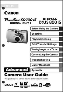 canon powershot sd700 is ixus 800 is digital camera user guide rh ebay com Canon PowerShot TX1 Unboxing Canon IXUS 500 HS
