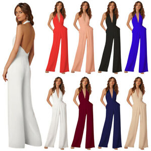 22bc98b5da6 Womens Backless Halter V Neck Wide Leg Jumpsuit Pants For Formal ...