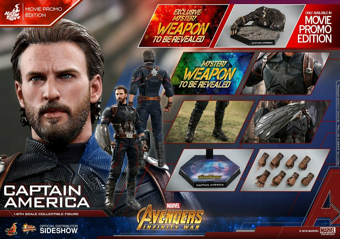 AVENGERS INFINITY WAR CAPTAIN AMERICA (MOVIE PROMO ED.)1 6 Action Fig. HOT TOYS