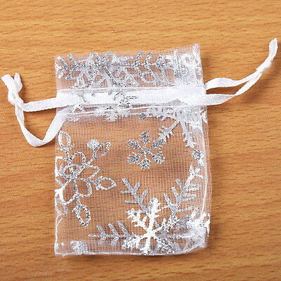 50pcs Wholesale Candy Organza Pouch White Snowflakes Wedding XMAS Gift Bag 5x7cm