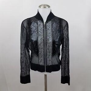 Joseph-Ribkoff-Jacket-8-Sheer-Black-Beaded-Sequins-Full-Zip-Mesh-Floral