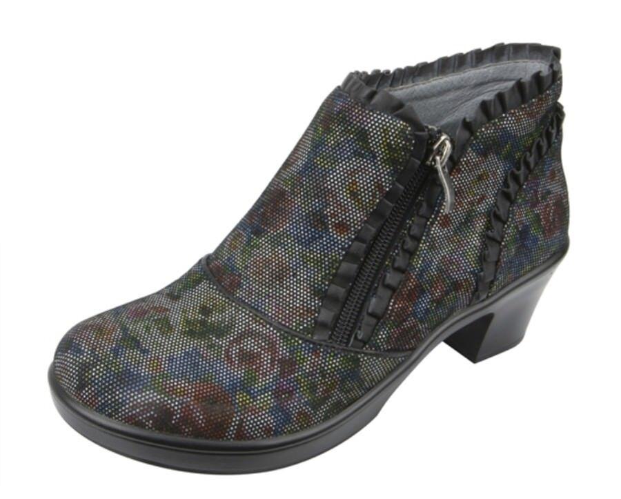 ALGRIA Han -509 Leather Ankle stivali Womans sz 6   6.5 Raked Texted Floral  per il tuo stile di gioco ai prezzi più bassi