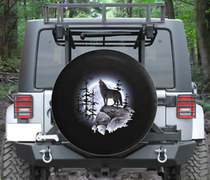 Spare Tire Cover Gray Wolf on Rocks Howling at Moon Wrangler RV