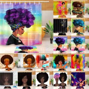 Image Is Loading Waterproof African Women Black Shower Curtain Girls Purple