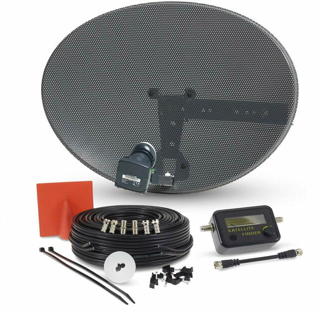 SSL Satellite Dish Kit, Latest MK4 dish with Quad LNB and 5m Twin Black Cable