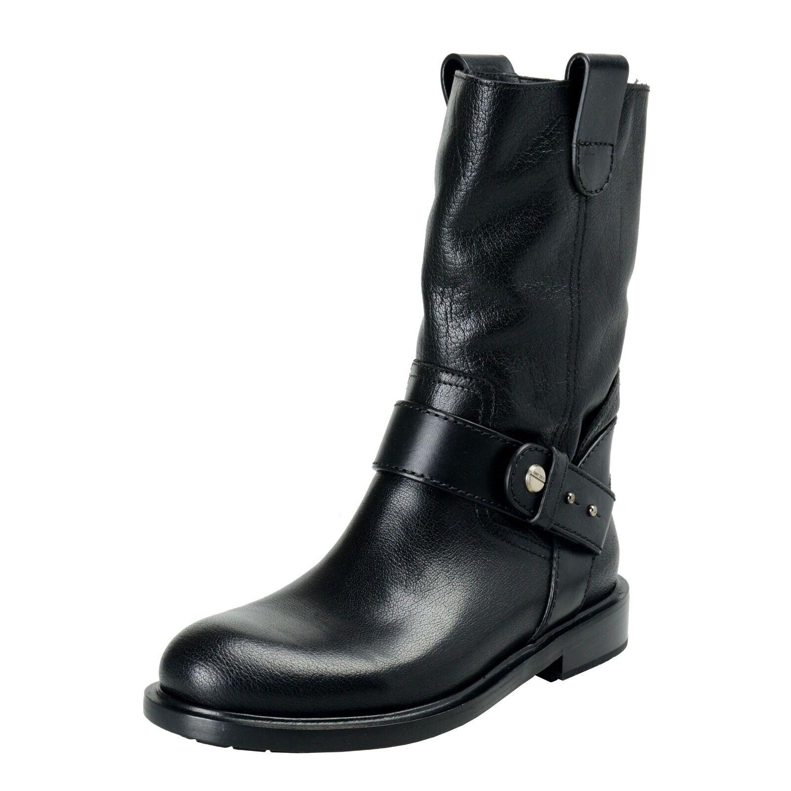 Jimmy Choo para Hombre Negro Zapatos botas de moto de cuero con guijarros EE. UU. 8 it 41