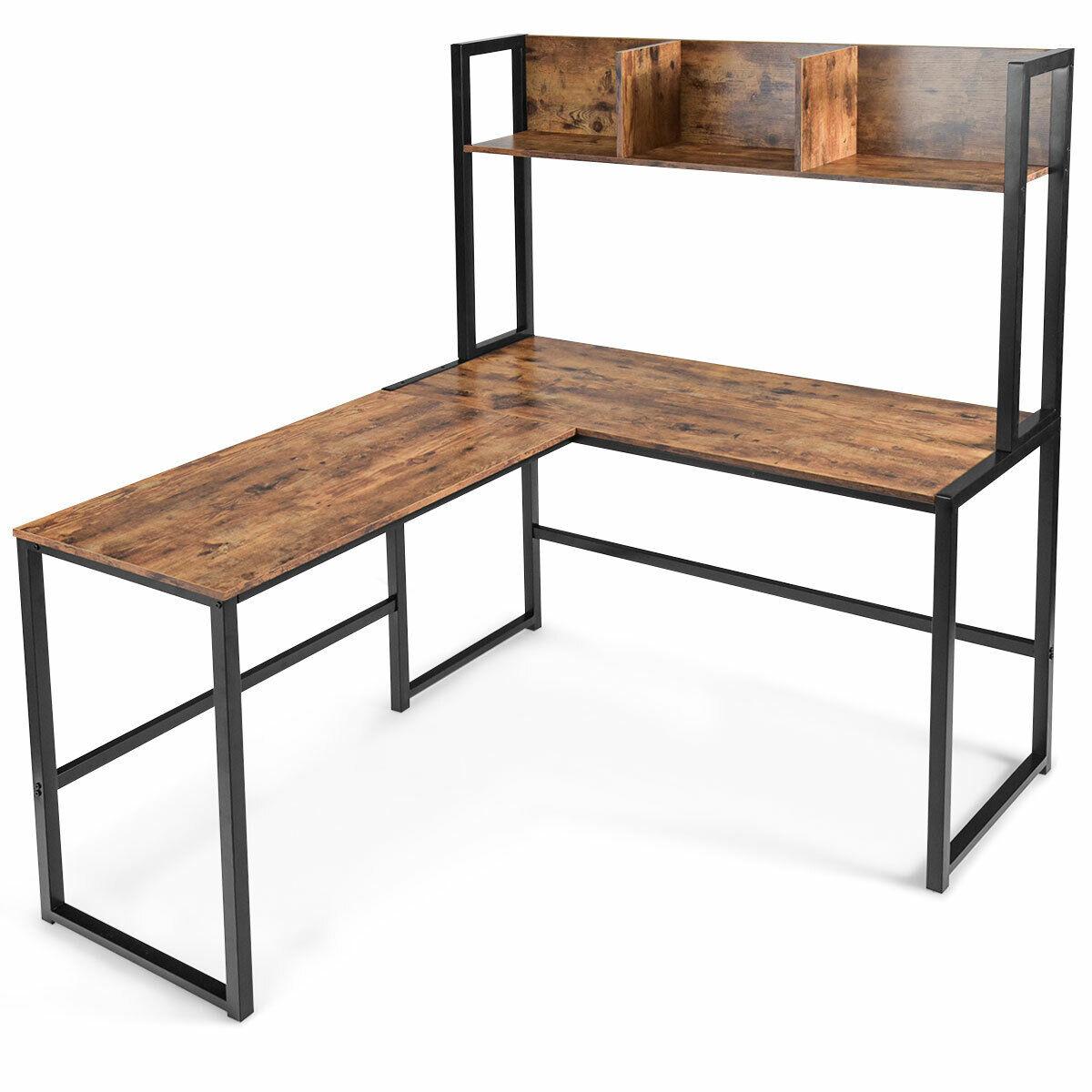 "Industrial L-Shaped Desk w/Hutch Bookshelf 33"" Corner Computer Desk Table"