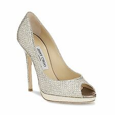 Jimmy Choo 'Quiet' Glitter Champagne Peep Toe Stiletto Heels  Shoes Eu 40 Uk 7