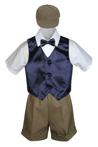 Boy Toddler Formal Navy Dark Blue Vest Bow Tie White Black Gray Hat 5pc Set S-4T