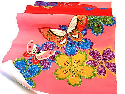 "Unused Japanese Kimono Fabric 45""_Silk,Red,Cherry blossom,Yuzen,#n816-d"