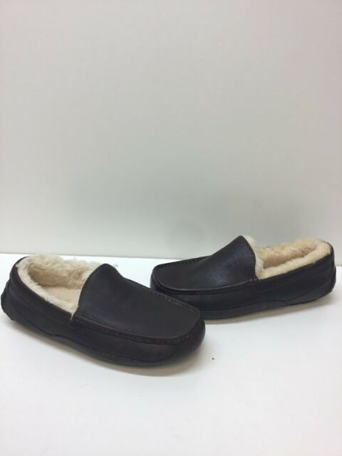 30c152a28f5 UGG Australia Ascot Dark Brown Leather Fur Lined Slip On Loafers Men s Size  8