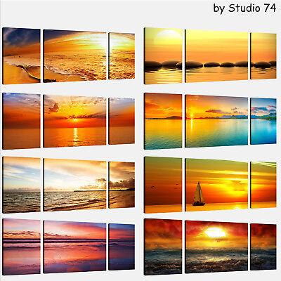 Quadro Moderno Stampa Su Tela Canvas Cm 208x70 Quadri Moderni XXL Tramonto Mare