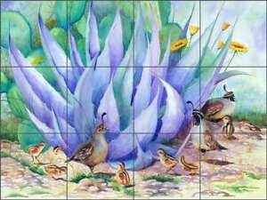 Details about Southwest Tile Backsplash Susan Libby Quail Art Ceramic Mural  SLA009
