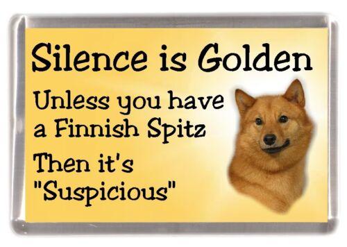 """Finnish Spitz Dog Fridge Magnet /""""Silence is Golden unless you ..../"""" by Starprint"""