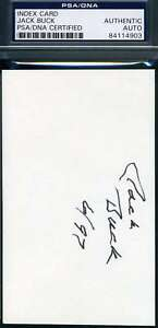 Jack Buck Psa Dna Coa Autograph Cardinals 3x5 Signed Index Card