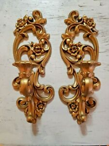Pair-Of-Vintage-HOMECO-Syroco-Burwood-Wall-CANDLE-Sconces-4118-1971