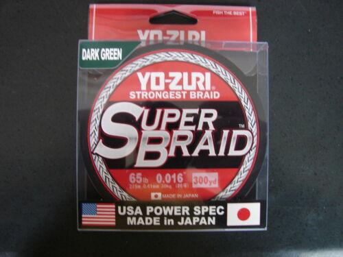 YO-ZURI SUPERBRAID Dark Green Fishing Line 65lb 300yd R1270-DG Super Braid